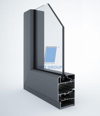 Mặt cắt cửa sổ mở quay hệ 65 không cầu